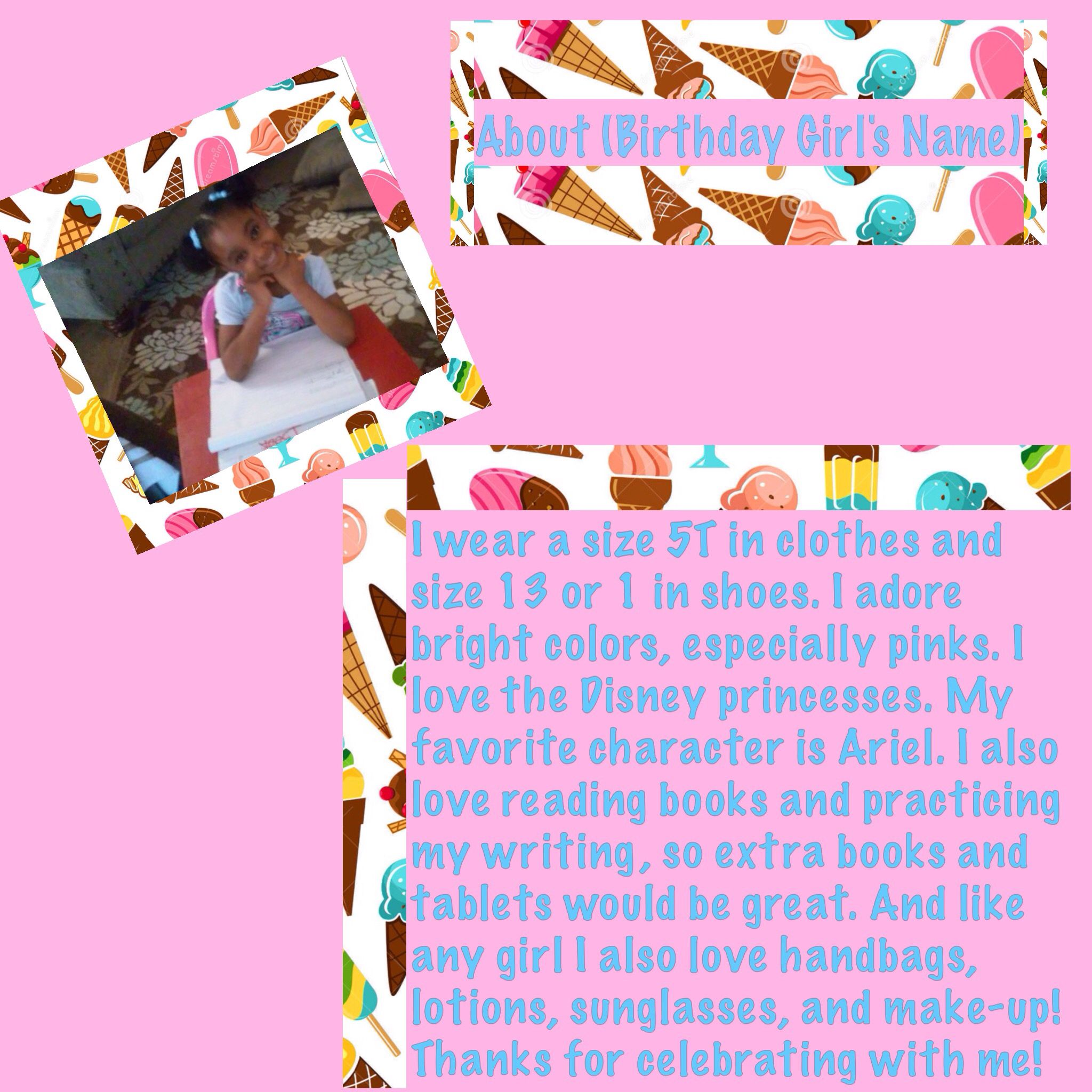 An About The Birthday Girl Or Boy Text Flier I Sent This Out Via