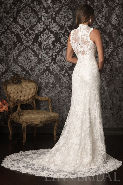 Vintage Trumpet Queen Ann Illusion Back Lace Wedding Dress