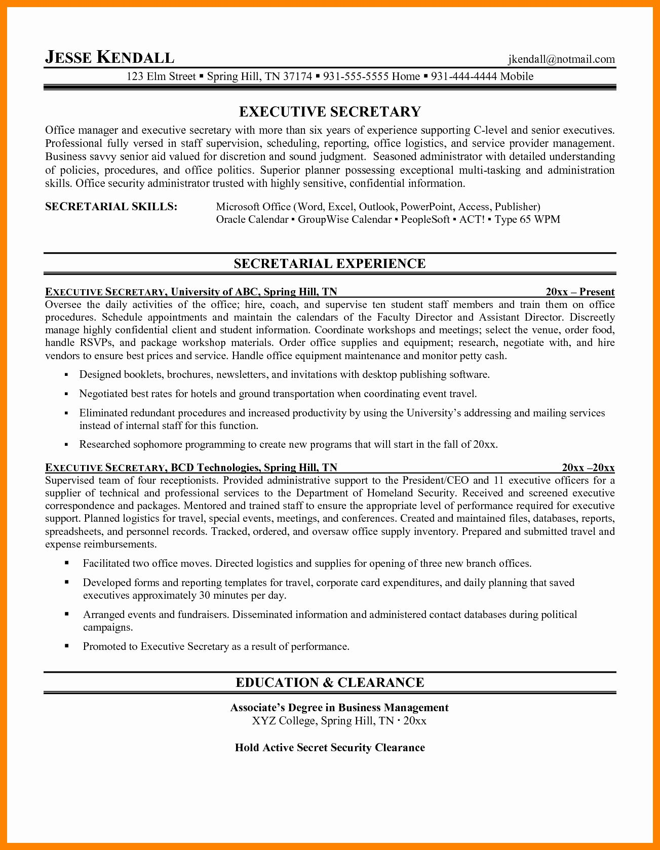 Awards And Acknowledgements Resume Examples Beautiful 10 Secretarial Res In 2020 Resume Cover Letter Examples Resume Objective Examples Administrative Assistant Resume