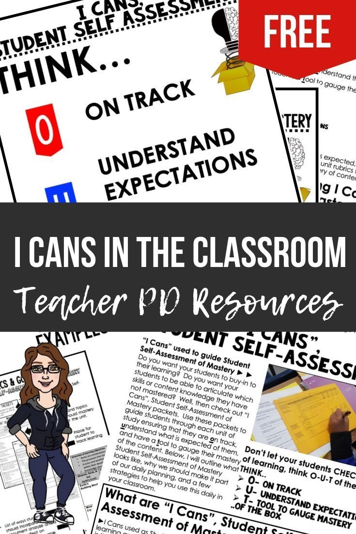 I Cans, Student SelfAssessment of Mastery Teacher PD