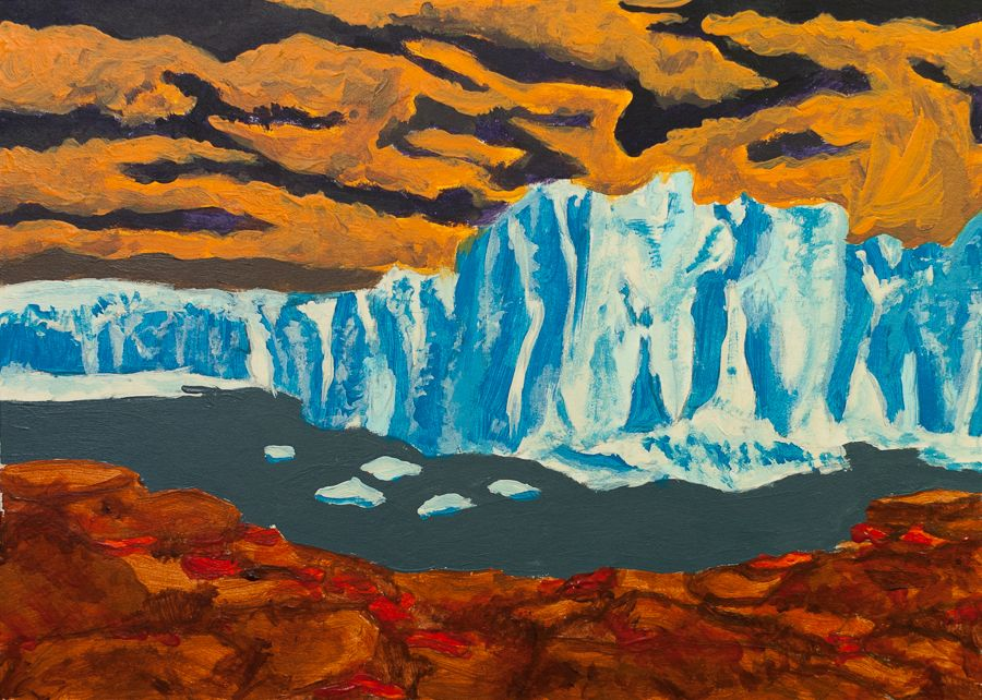In This Synesthesia Art Collaboration I Painted One Of My Friends Favorite Landscapes Of Greenland Using The Colors She Associates W Painting Art Mountain Art