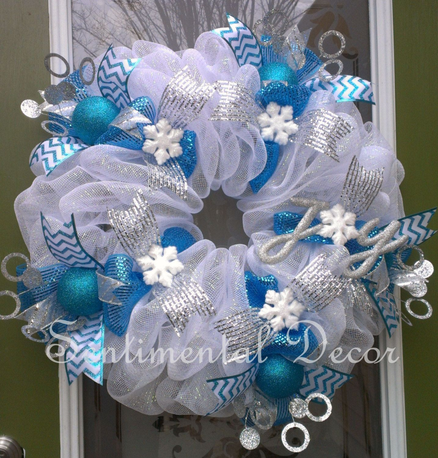 Frozen winter wonderland wreath for birthday by - Blue and white christmas decor ...