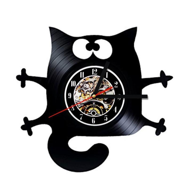 Crazy Cat Vinyl Record Wall Clock
