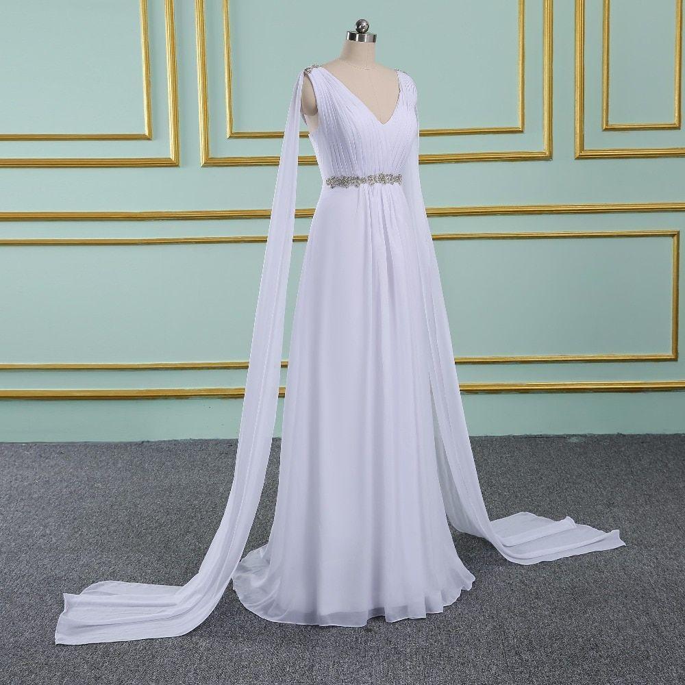 V-Neck Long Chiffon Watteau Train Grecian Beach Wedding Dress -  Uniqistic.com 1960416eb