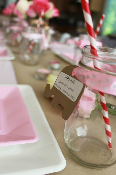 Junas Baby Shower Table Setting Mason Jar With Name Tag Was