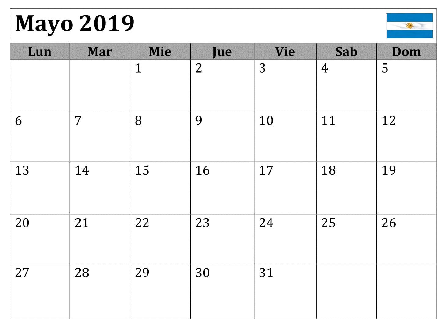 Calendario Grande.Mayo Calendario Grande 2019 Argentina Calendario Mayo 2019