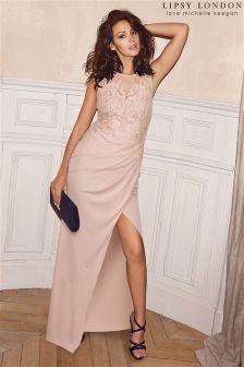 1fc9bd3a2b Nude Lipsy Love Michelle Keegan Petite Lace Appliqué Maxi Dress (L62528)    £90
