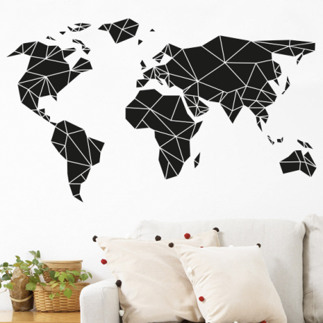 sticker mural mappemonde d coration g om trique stickers muraux pinterest parement mural. Black Bedroom Furniture Sets. Home Design Ideas
