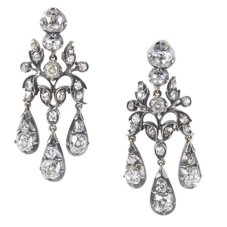 Antique diamond drop earrings from a unique collection of vintage antique diamond drop earrings from a unique collection of vintage chandelier earrings at https mozeypictures Images
