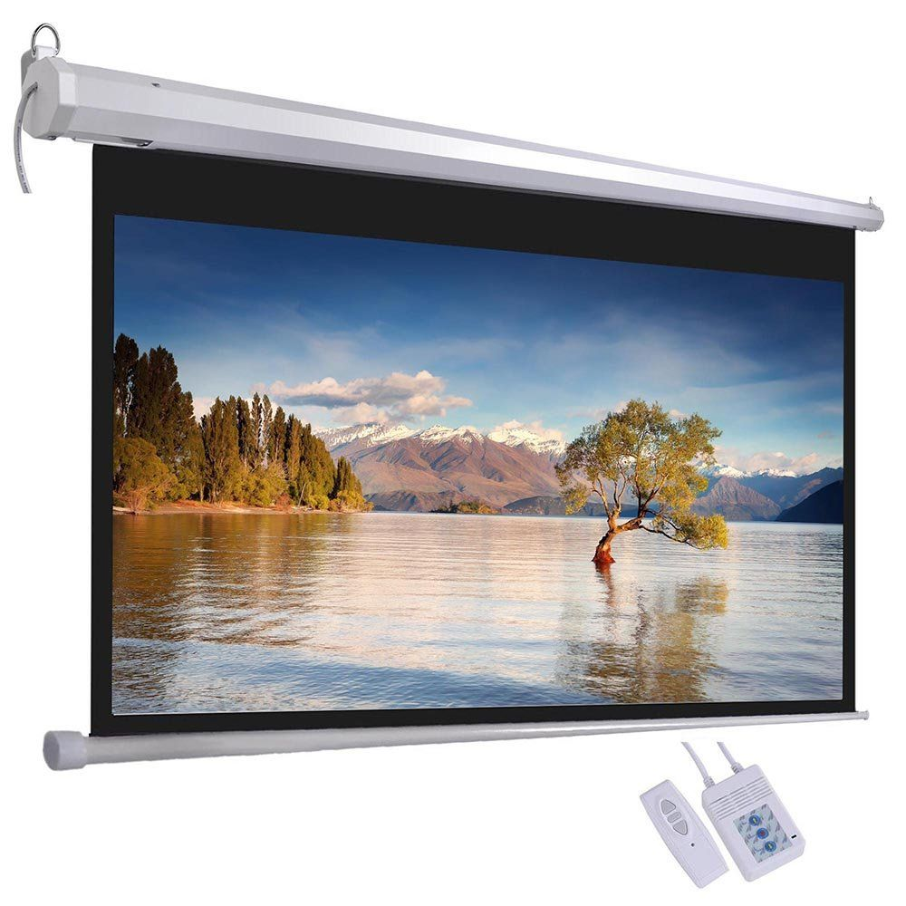 Reasejoy 120 Diagonal 16 9 Electric Projector Screen Viewing Aera 265 7x149 2cm With Remote Control Matte White Projector Screen Projector Projection Screen
