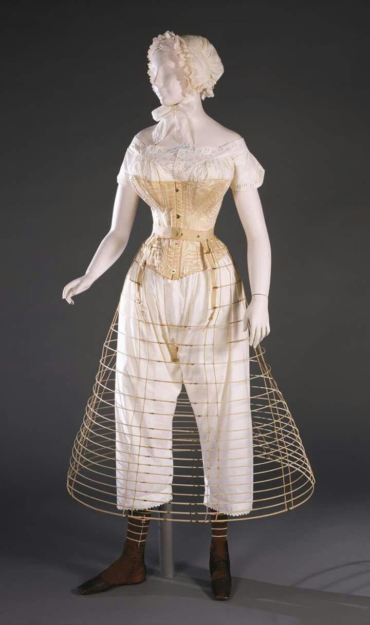Mannequin dressed in 1860s underwear including cap e15540cf46
