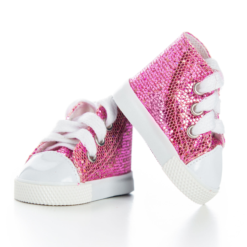 """18/"""" Doll Shoes Glitter Sequin Sneakers fits 18/"""" Doll Tennis Shoes"""