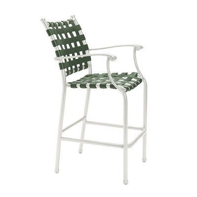 Tropitone Sorrento Bar Stool Frame Finish: Shell, Seat Color: Woodland