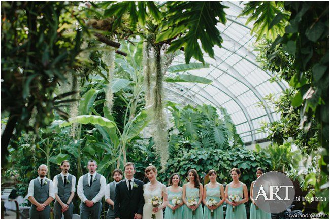 Garfield Park Conservatory Wedding.Wedding Party Standing In The Garfield Park Conservatory Wedding