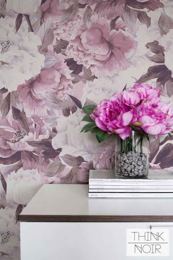Flower Adhesive Wallpaper, Pink Peony Pattern Regular Wallpaper, Floral Wallpaper