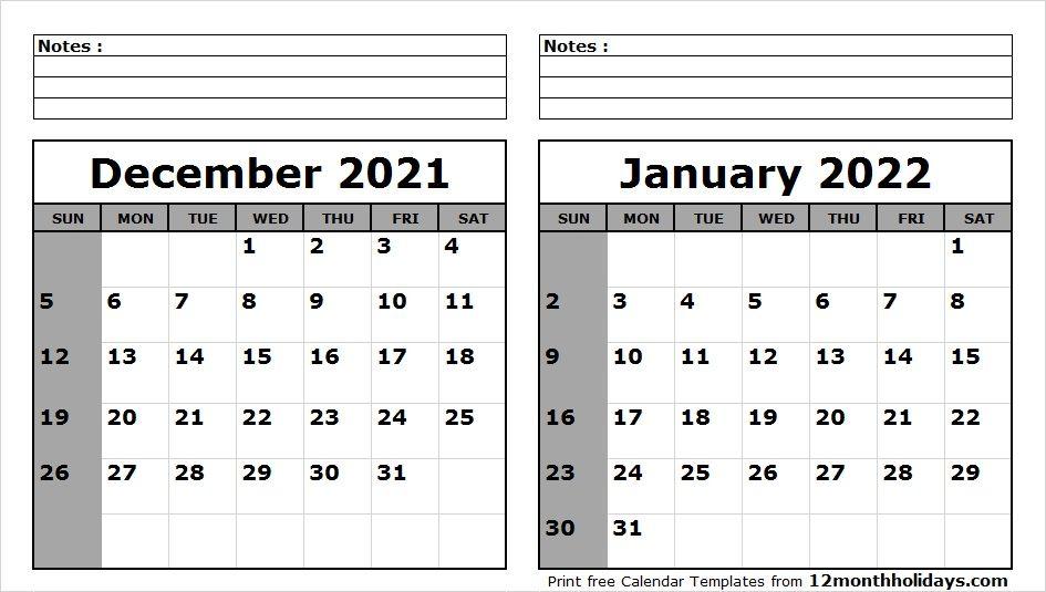 December 2021 January 2022 Calendar Printable 2020 Calendar Template Calendar Template Calendar Printables
