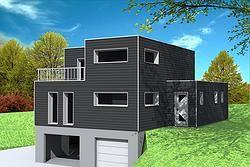 maison cubique avec sous sol