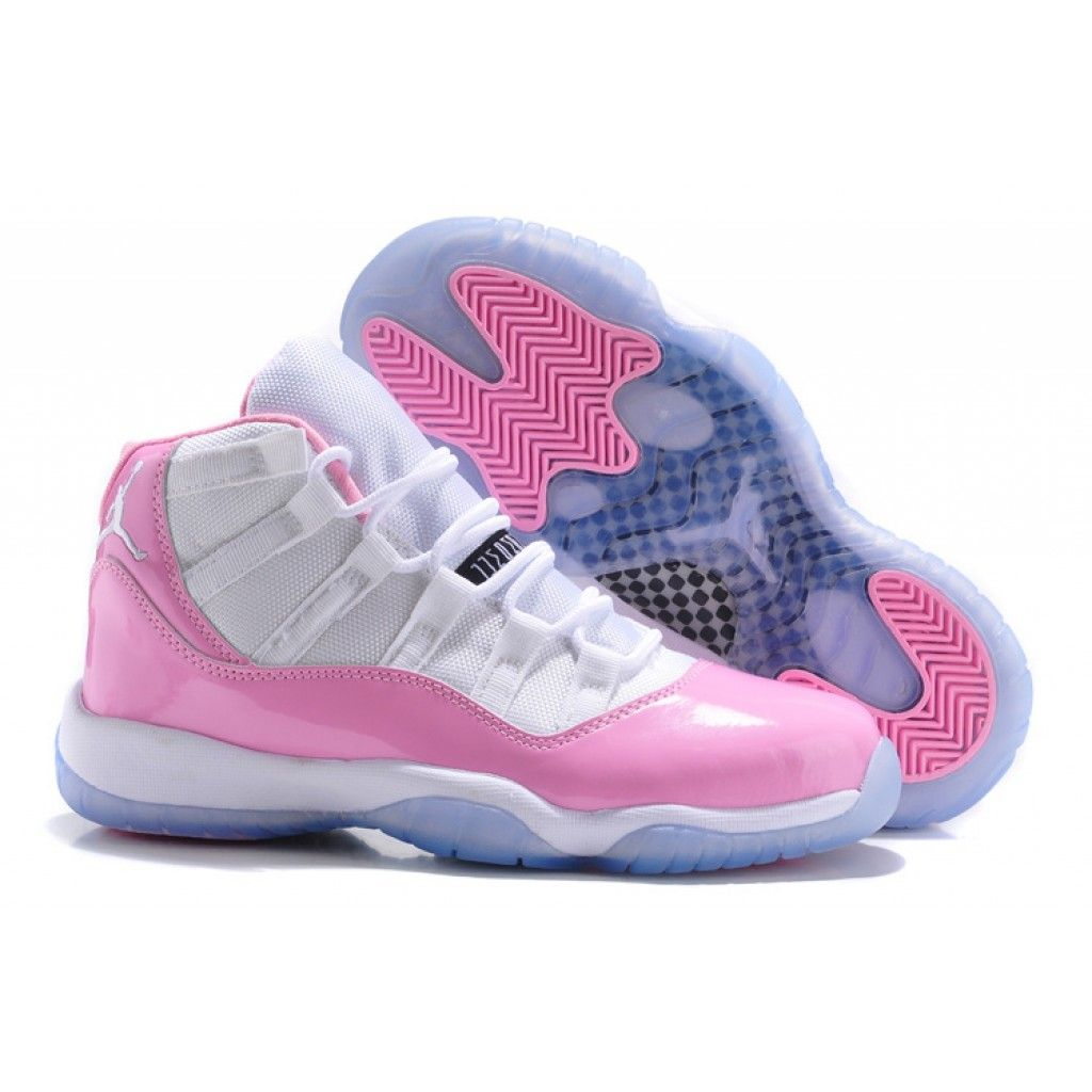 7b2b3fc452e4a8 Girls Air Jordan 11s Pink and White icy blue bottom for sale ...