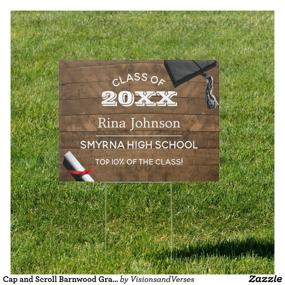 Cap and scroll barnwood graduation yard sign in 2020