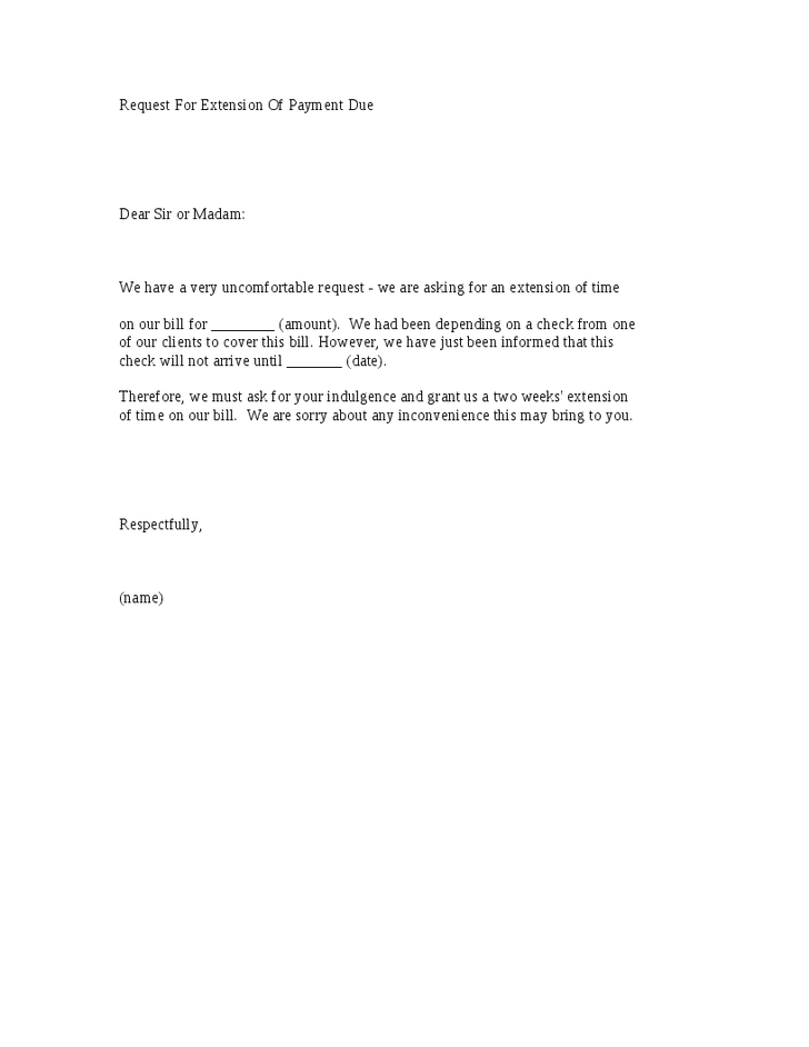 sample letter for payment request