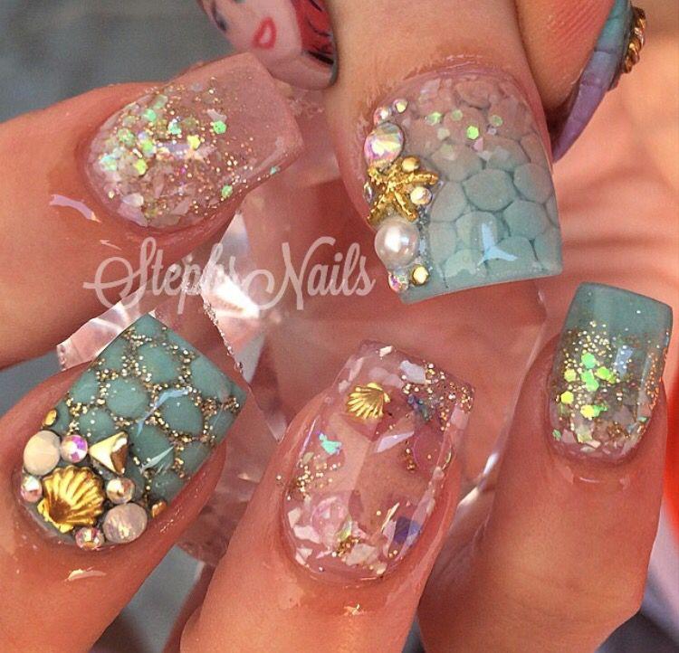 Mermaid Nail Art Acrylic Nails: Nails, Sea Nails, Mermaid Nail Art
