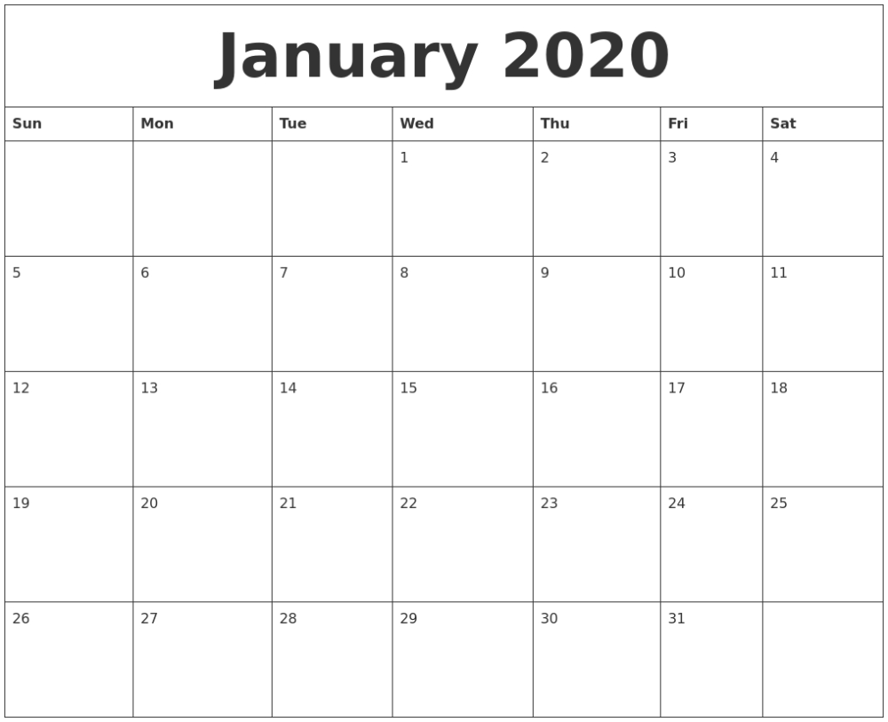 Printable 2020 Monthly Calendars Starting With Monday Calendar Tem Blank Monthly Calendar Template Printable Calendar Large Free Printable Calendar Templates