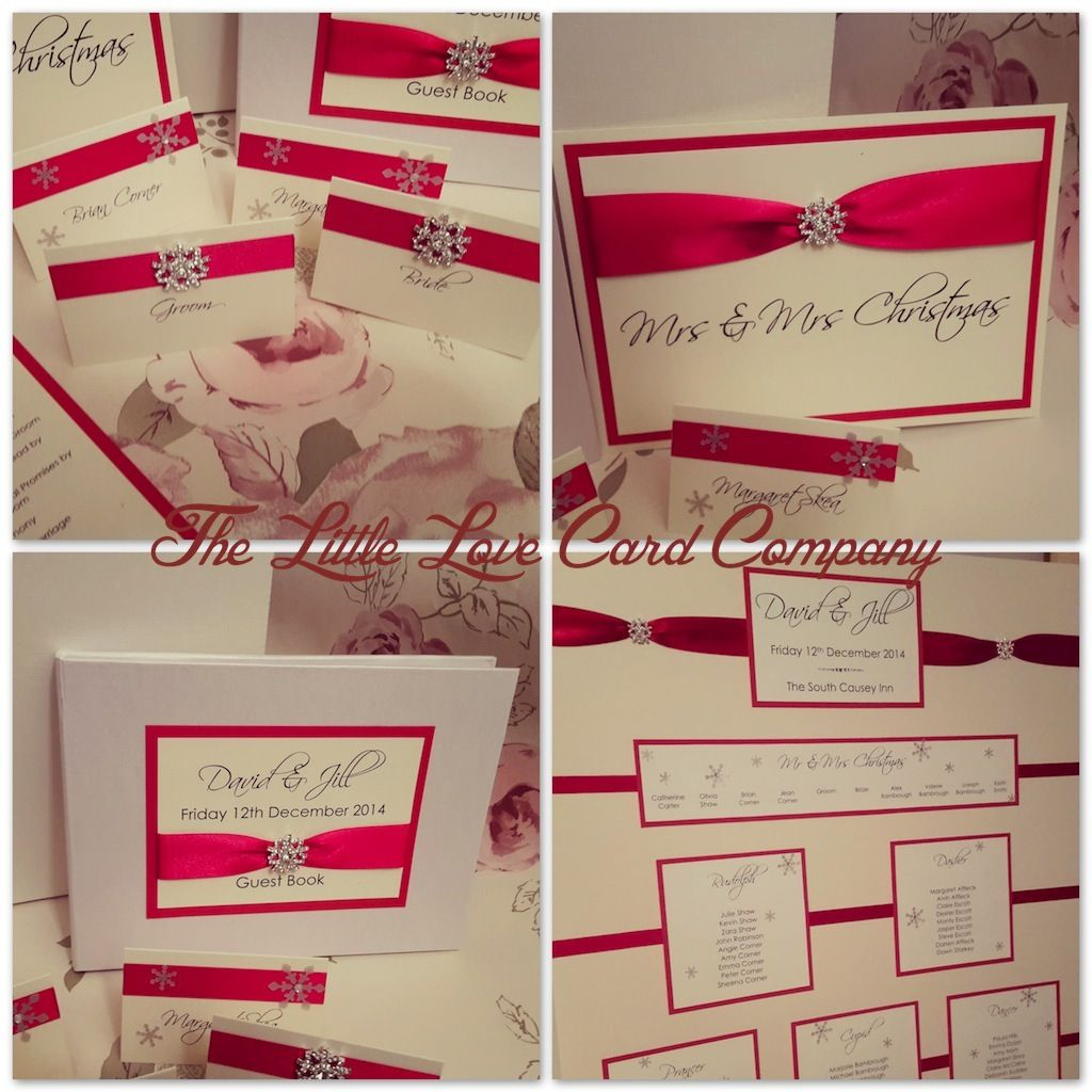 Jill & David Dec 2014 - Bright red ribbons & diamante snowflake ...