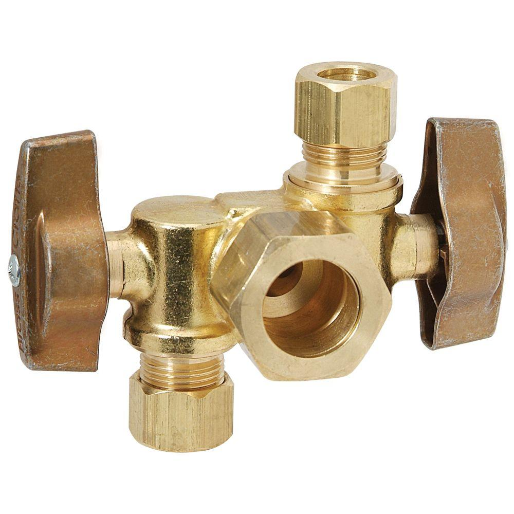 Brasscraft 1 2 In Nom Comp Inlet X 3 8 In O D Comp X 1 4 In O D Comp Dual Outlet Dual Shut Off 1 4 Turn Angle Ball Valve Ktcr1900dvx R Stainless Steel Tubing Water Pipes Plumbing Fixtures