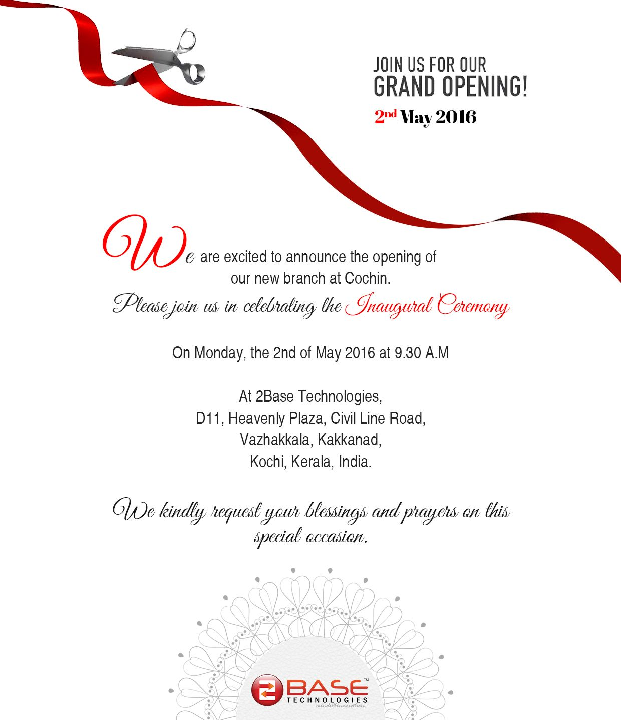Hello We Are Delighted To Announce That We Are Opening Our New Branch At Cochin Shop Opening Invitation Card Luxury Invitation Card Grand Opening Invitations