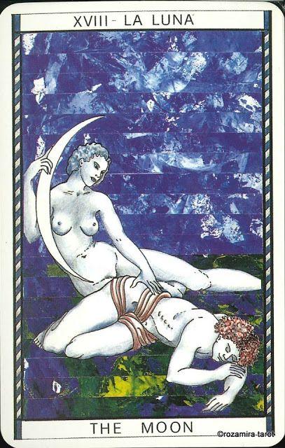 XVIII. The Moon - Tarocco Mitologico by Amerigo Folchi