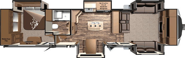 Open Range 3x 377flr 41 Front Living Room 5th Wheel With