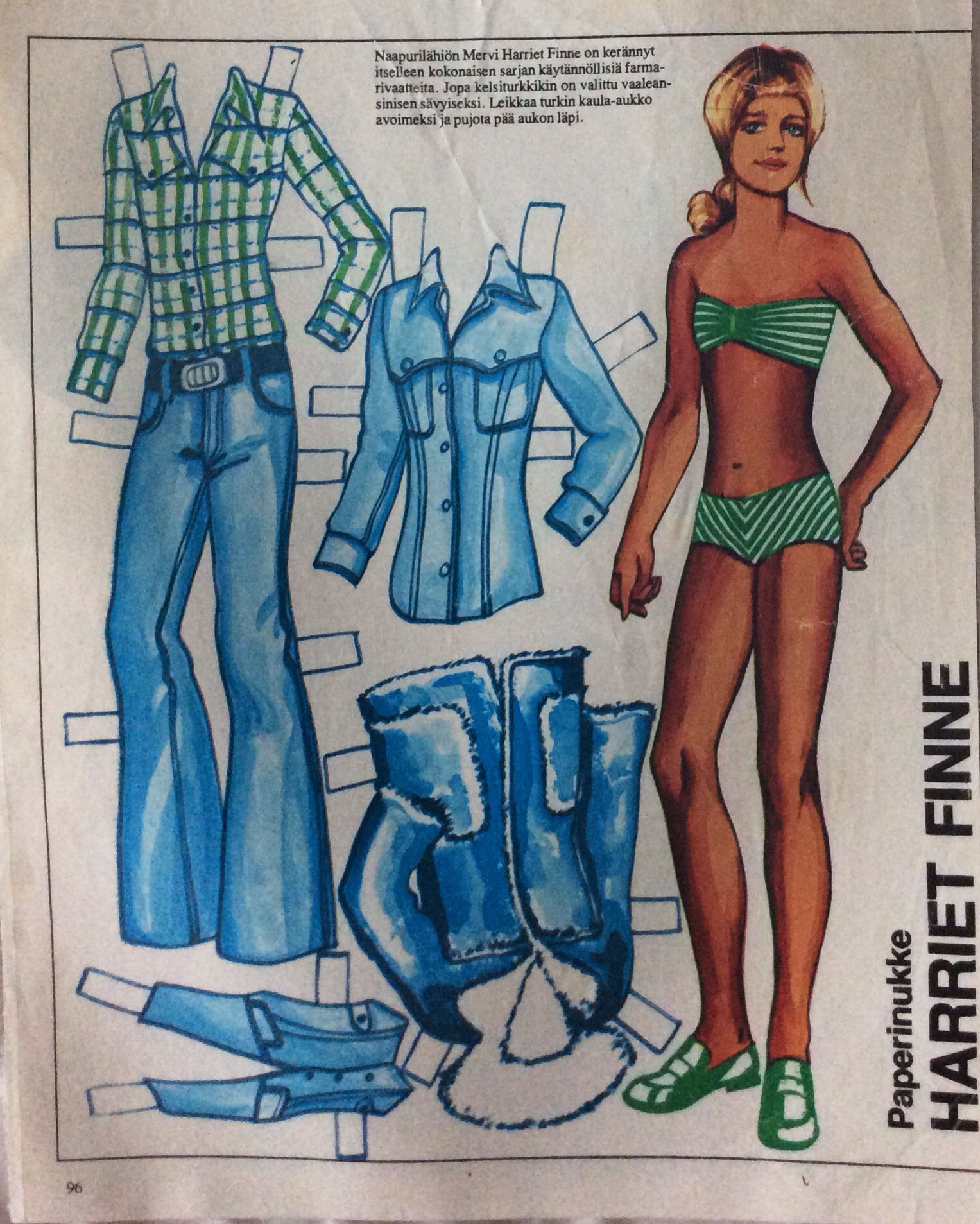 Paper doll Harriet Finne 1970's