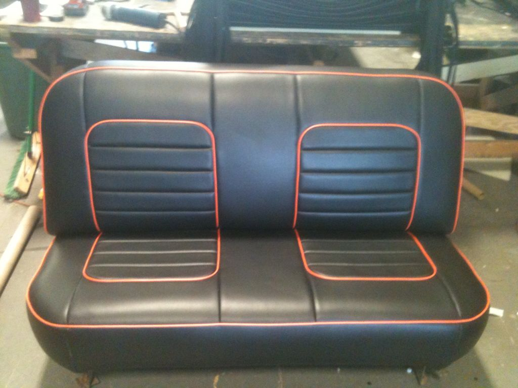 Black With Red Piping Upholstery Car Interior 1964 Ford F100