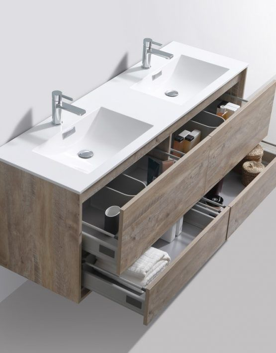 De Lusso 60 Double Sink Nature Wood Wall Mount Modern Bathroom