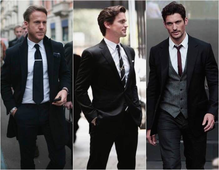 Pulling of a black suit is all about style