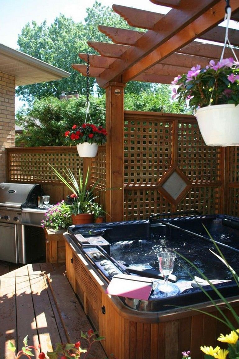 23 Beautiful Outdoor Hot Tub Privacy Ideas  Hot tub landscaping