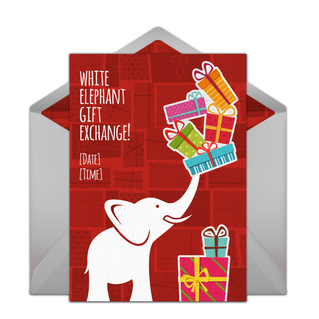 A Great Free Christmas Invitation For A White Elephant Party Or