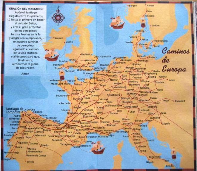 Camino de Santiago Map All the European routes Map Via de Arles