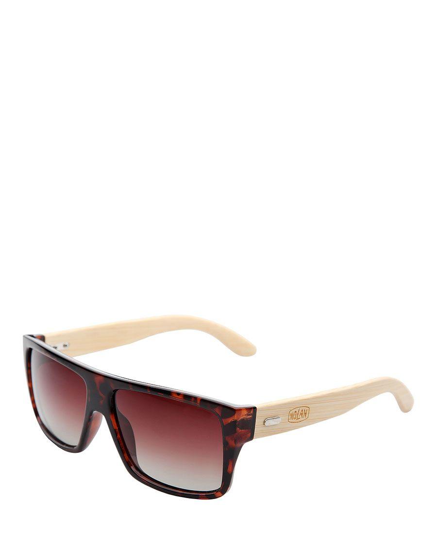 Nolan - occhiali da sole - protezione cat. 3 uv400 - montatura: iniettato  - lenti: polarizzate, sfumate - astine: bambo - Occhiali da sole uomo nl001 Marrone