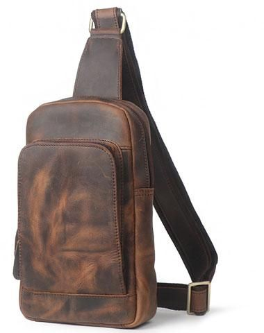 139ba140a4e Leather Mens Cool Chest Bag Sling Bag Sling Crossbody Bag Travel ...