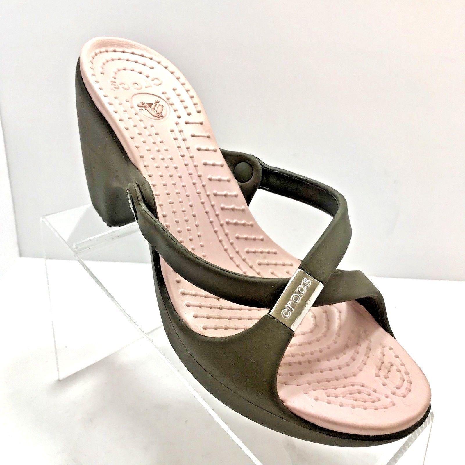 61087d0443 CROCS Cyprus Strap Sandals Platform Wedge Heels GRAY PINK Size 10 Womens EU  41.5 | eBay
