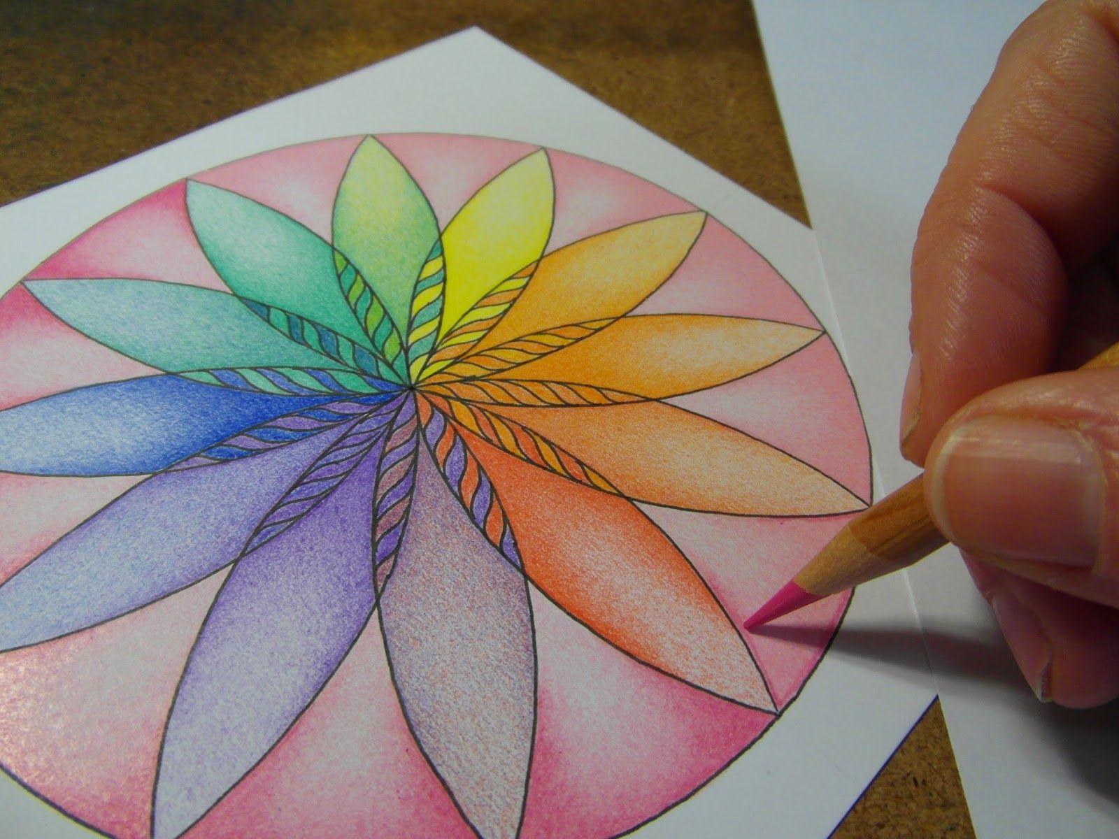 Mooie heldere manier om te leren inkleuren met diepte en werken met overgangen in verschillende (naaste) kleuren.