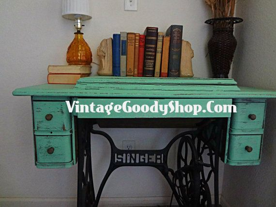 ANTIQUE Singer Table Repurposed by TheVintageGoodyShop on Etsy, $225.00