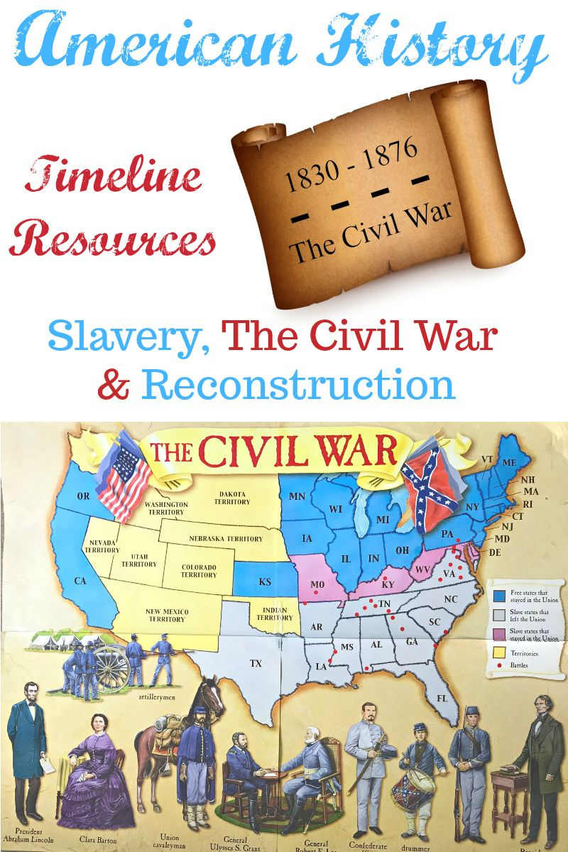 American History Timeline Resources Slavery The Civil War Reconstruction American History Timeline American History Activities Civil War Timeline [ 1200 x 800 Pixel ]