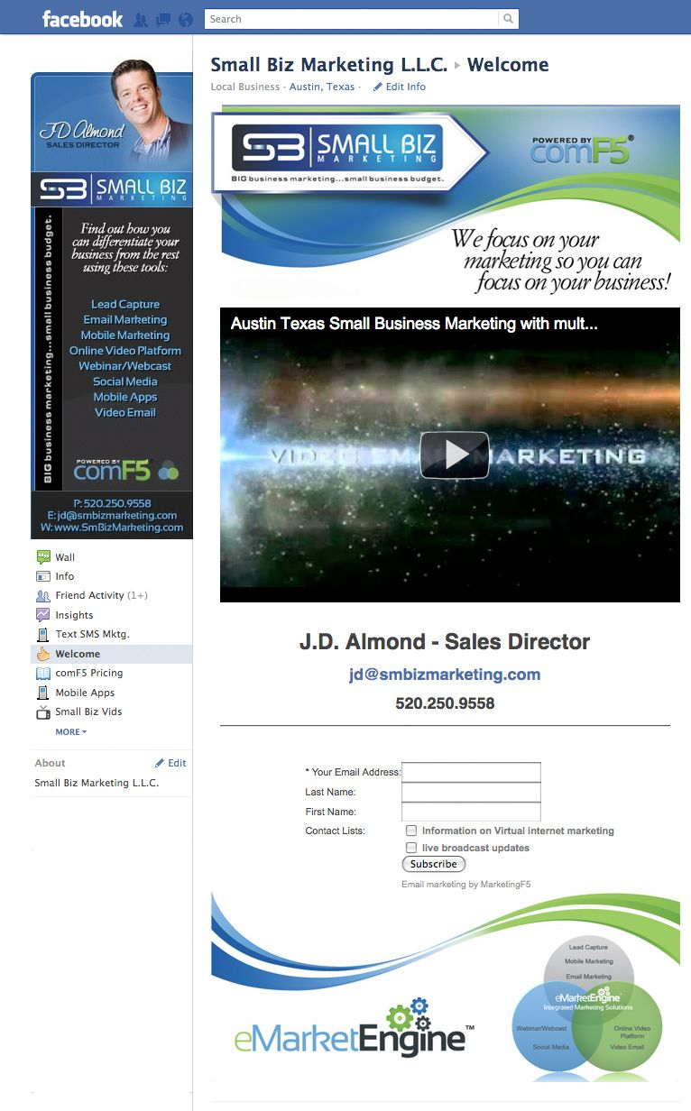 Facebook Profile Image Design Landing Page Development For Jd Almond Of Small Biz Website Design Company Images For Facebook Profile Small Business Marketing