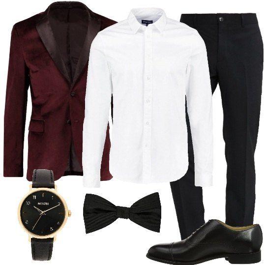 newest 2f5a8 e6c2e Look elegante, composto da una giacca elegante bordeaux con ...