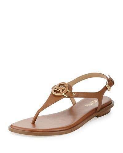 39e1e404d MICHAEL Michael Kors Lee Leather Flat Thong Sandal, Luggage   up to ...