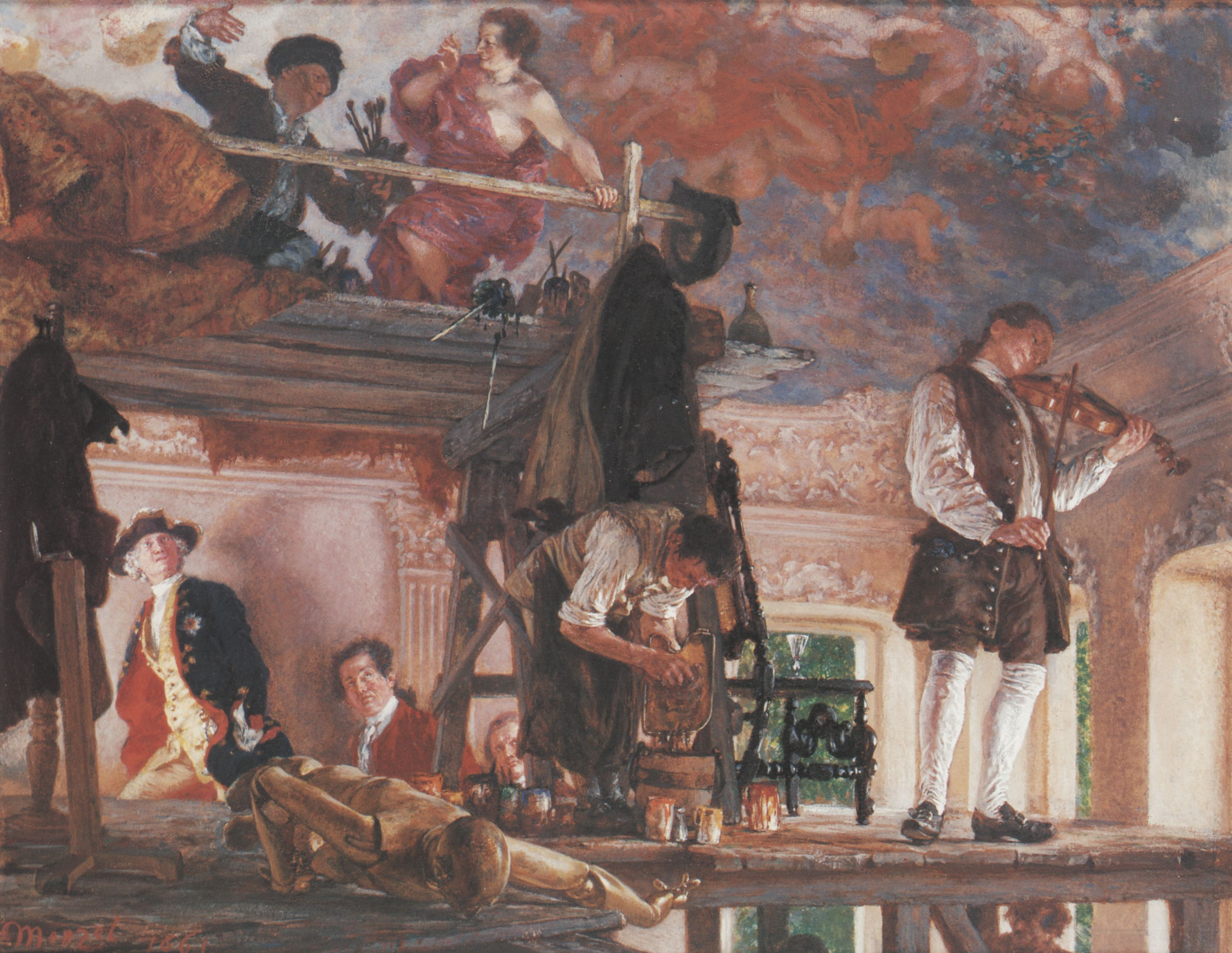 Adolph von Menzel. Crown Prince Frederick Pays a Visit to the Painter Pesne on his Scaffold at Rheinsberg. 1861, gouache on paper, board backing, 24 x 32 cm, Alte Nationalgalerie - Staatliche Museen zu Berlin. [Pinned 31-xii-2014]