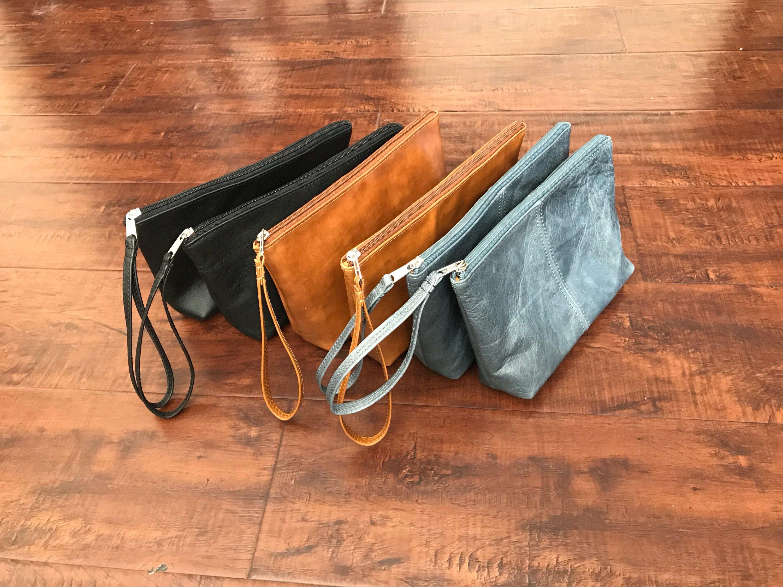 Simple Wallet Wristlet Leather and Lace Bag Premium Leather Purse Small Wristlet Purse Soft Leather Clutch Black Leather Handbag