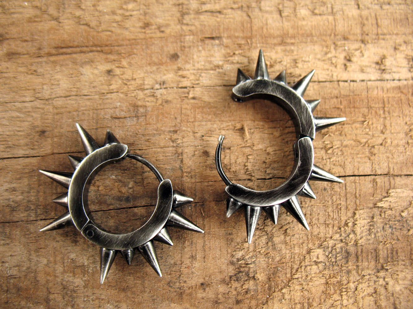 Cool mens gifts, punk rock earrings, spikes huggie ...